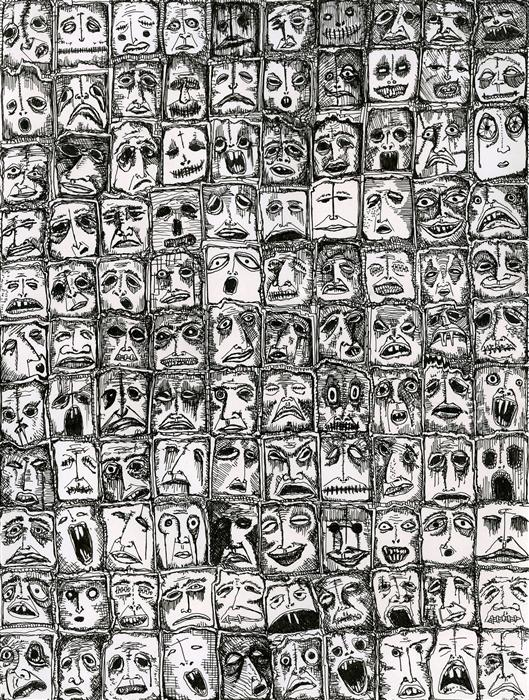 Original art for sale at UGallery.com | 110 Faces by ANTHONY CHRISTOPHER | $675 |  | 12' h x 9' w | ..\art\ink-artwork-110-Faces