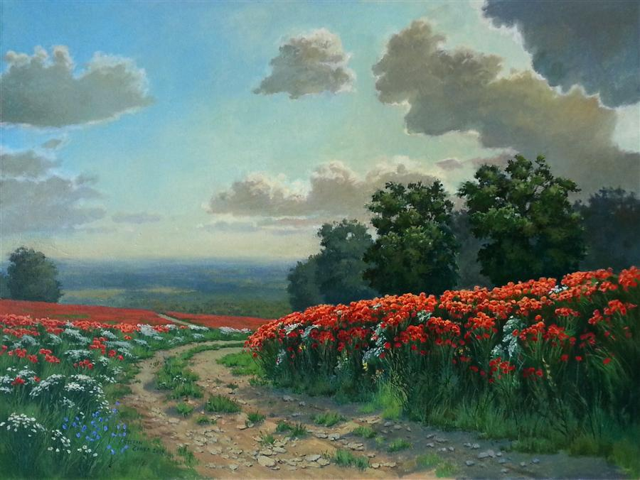 Original art for sale at UGallery.com | Poppy Path by Stefan Conka | $1,400 | oil painting | 23.6' h x 31.4' w | ..\art\oil-painting-Poppy-Path-36926