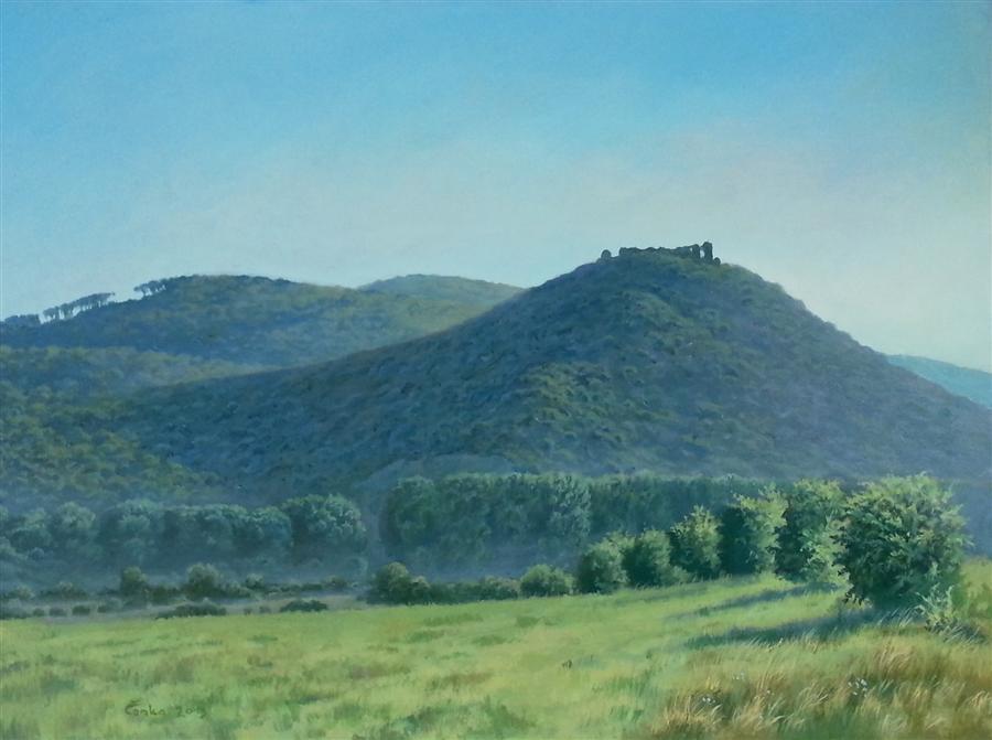 Original art for sale at UGallery.com | Castle Vinne by Stefan Conka | $1,400 | oil painting | 23.6' h x 31.4' w | ..\art\oil-painting-Castle-Vinne