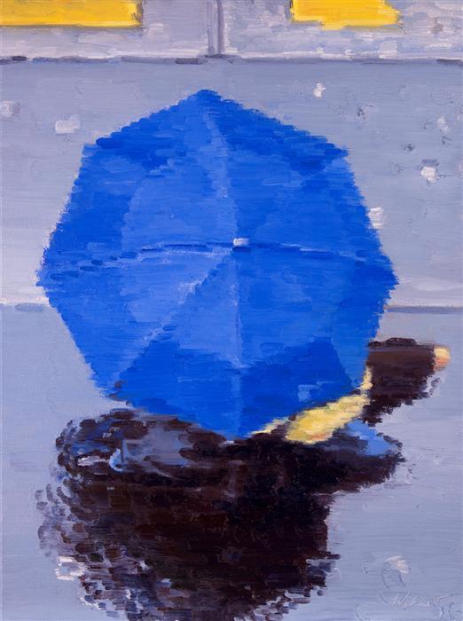 Blue Umbrella Painting Blue Umbrella in Paris