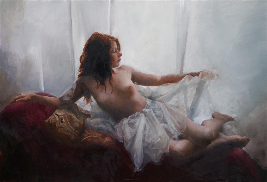 Original art for sale at UGallery.com | At the Window by JOHN KELLY | $2,500 | Oil painting | 24' h x 36' w | ..\art\oil-painting-At-the-Window