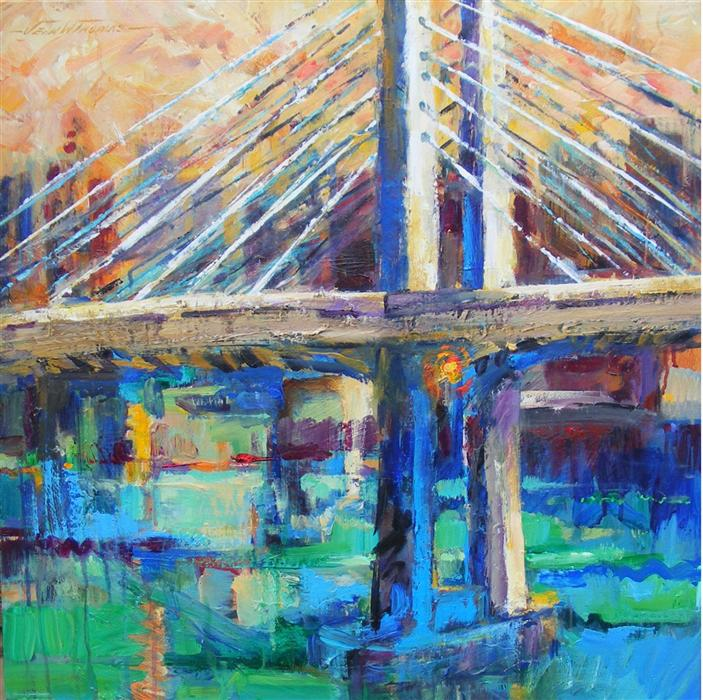 Original art for sale at UGallery.com | City Bridge, Tillikum Crossing by JEAN W. THOMAS | $1,675 | Acrylic painting | 24' h x 24' w | ..\art\acrylic-painting-City-Bridge-Tillikum-Crossing