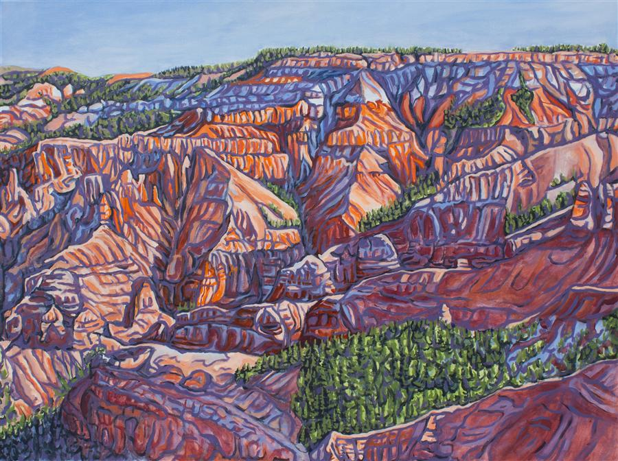 Original art for sale at UGallery.com | Early Morn at Cedar Breaks by CRYSTAL DIPIETRO | $3,100 |  | 30' h x 40' w | ..\art\oil-painting-Early-Morn-at-Cedar-Breaks