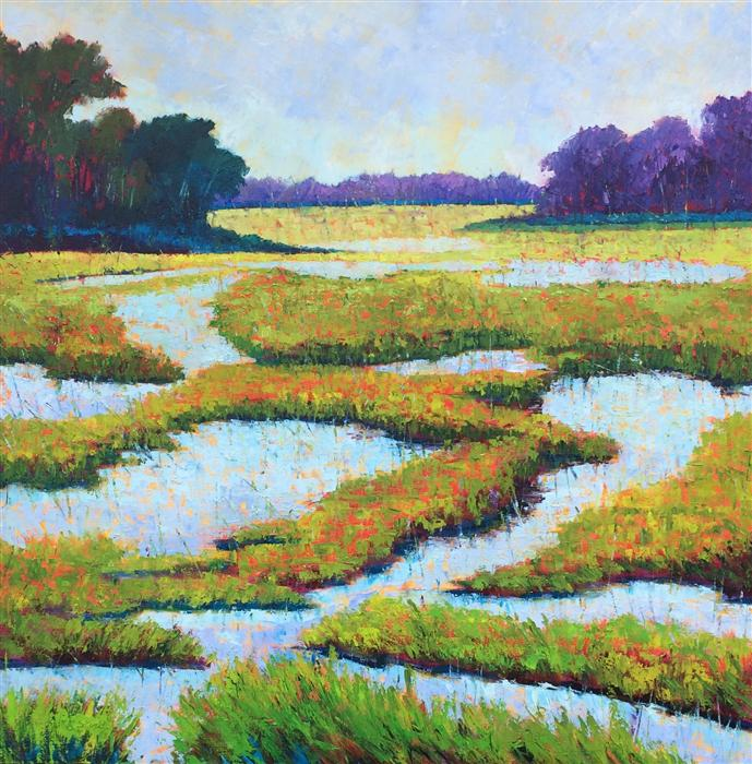 Original art for sale at UGallery.com | High Tide Morning by ROXANNE STEED | $2,900 | Oil painting | 40' h x 40' w | ..\art\oil-painting-High-Tide-Morning