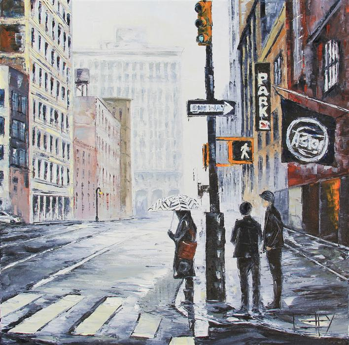 Original art for sale at UGallery.com | New York State of Mind by LISA ELLEY | $870 |  | 24' h x 24' w | ..\art\oil-painting-New-York-State-of-Mind