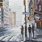 Architecture art,People art,Representational art,oil painting,New York State of Mind