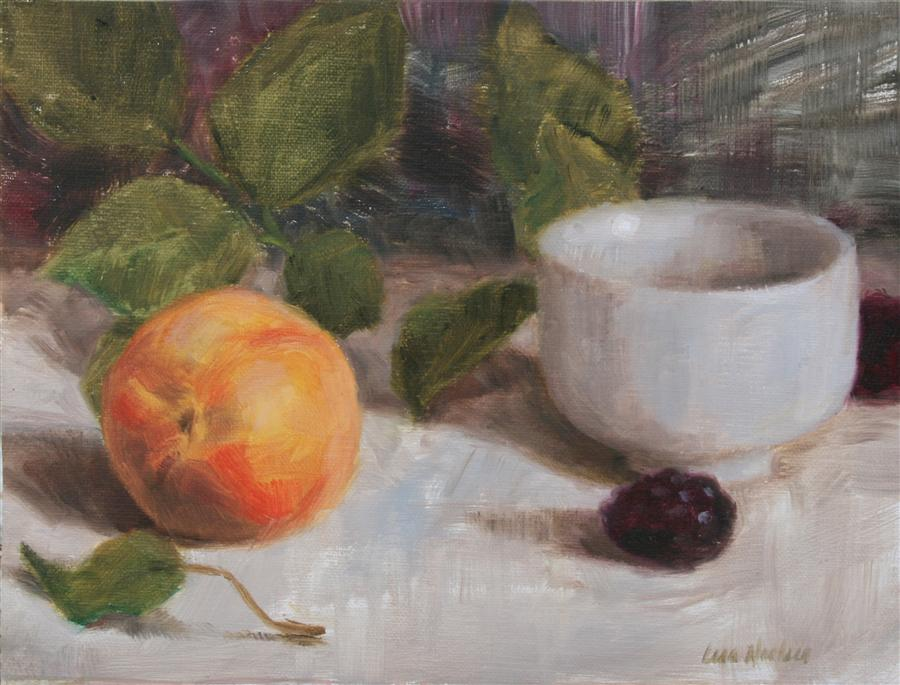 Original art for sale at UGallery.com | Peach and Blackberries by LISA NIELSEN | $250 | Oil painting | 6' h x 8' w | ..\art\oil-painting-Peach-and-Blackberries