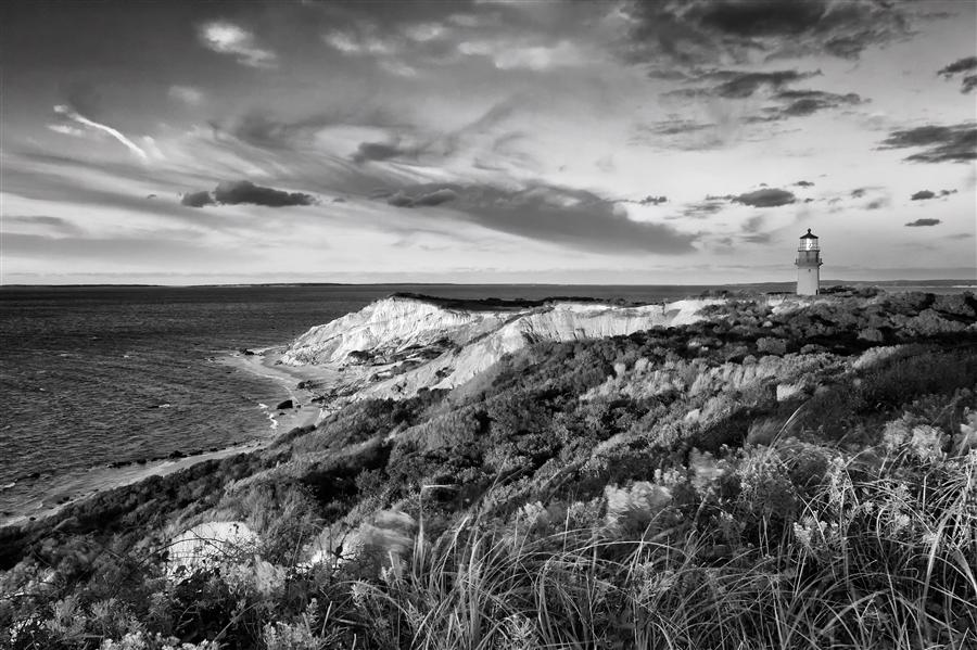 Original art for sale at UGallery.com | Gay Head Sunset B&W by Katherine Gendreau | $25 | photography | 36' h x 24' w | ..\art\photography-Gay-Head-Sunset-B-W