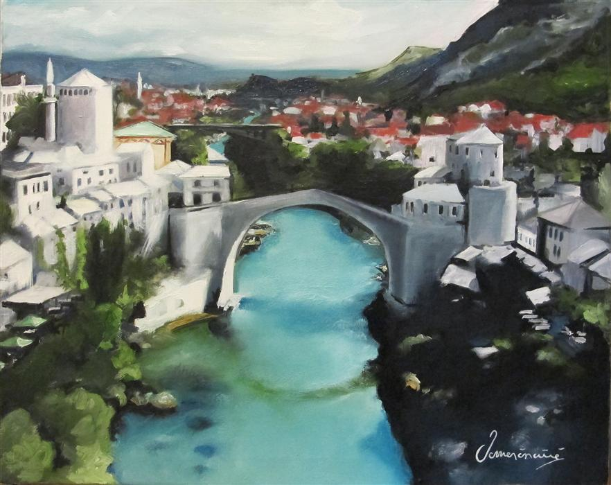 Original art for sale at UGallery.com | Mostar by NEDIM OMERCAUSEVIC | $750 | Oil painting | 16' h x 20' w | ..\art\oil-painting-Mostar