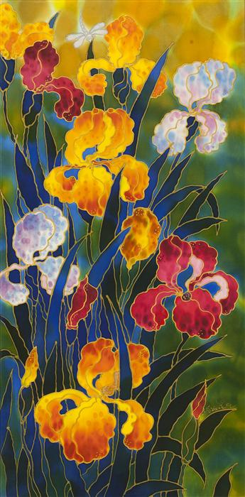 Original art for sale at UGallery.com | Glorious Irises by YELENA SIDOROVA | $1,025 |  | 36' h x 18' w | ..\art\mixed-media-artwork-Glorious-Irises