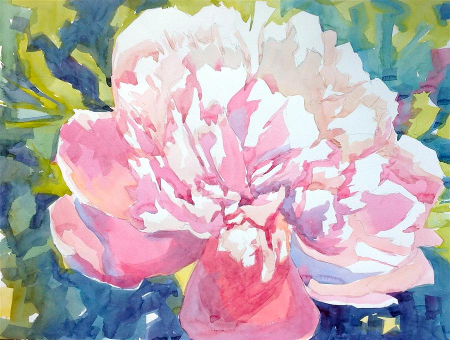 Original art for sale at UGallery.com | Large Pink Peony by JO MACKENZIE | $600 |  | 18' h x 24' w | ..\art\watercolor-painting-Large-Pink-Peony