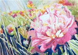 Nature art,Flora art,Representational art,watercolor painting,Flower Field
