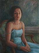 Expressionism art,People art,Representational art,oil painting,Waiting