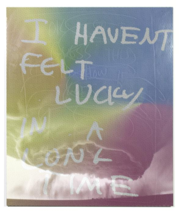 Original art for sale at UGallery.com | I Haven't Felt Lucky in a Long Time by JACK R. MESA | $3,400 |  | 36' h x 30' w | ..\art\mixed-media-artwork-I-Haven-t-Felt-Lucky-in-a-Long-Time