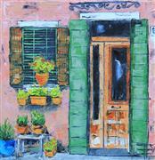 Architecture art,Travel art,Representational art,Vintage art,oil painting,Doorway in Italy