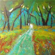 Landscape art,Nature art,Representational art,acrylic painting,Summer Trail