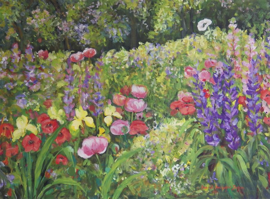 Original art for sale at UGallery.com | Monroe Garden by INGRID DOHM | $3,600 |  | 30' h x 40' w | ..\art\acrylic-painting-Monroe-Garden