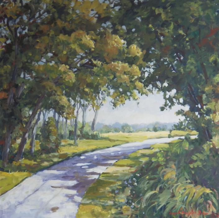 Original art for sale at UGallery.com | Midway Village Path by INGRID DOHM | $3,150 | Acrylic painting | 36' h x 36' w | ..\art\acrylic-painting-Midway-Village-Path