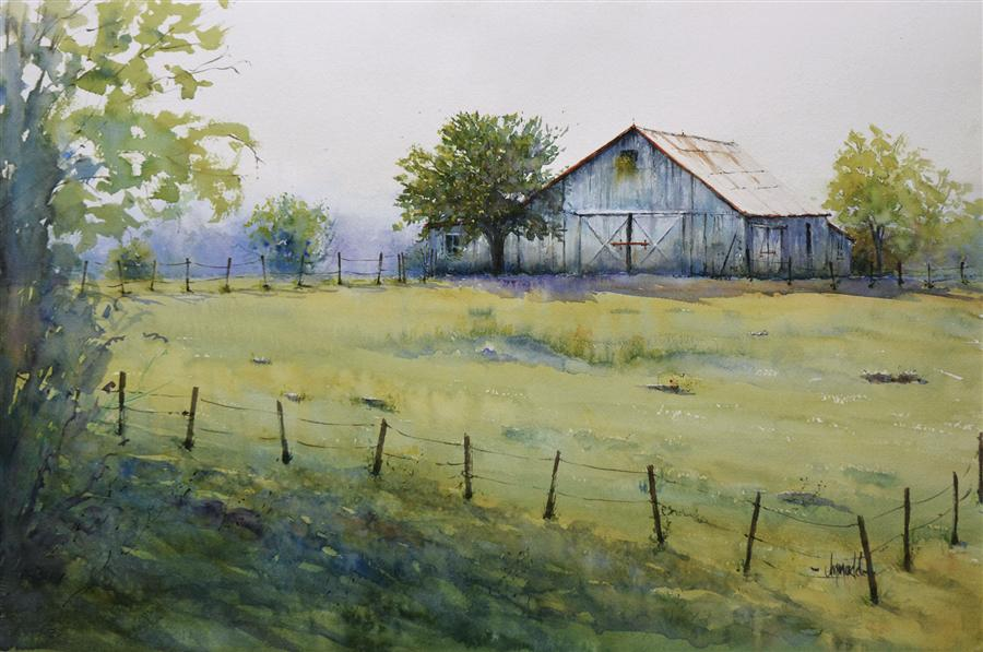 Original art for sale at UGallery.com | Spring Farm by JUDY MUDD | $1,000 | Watercolor painting | 15' h x 22' w | ..\art\watercolor-painting-Spring-Farm