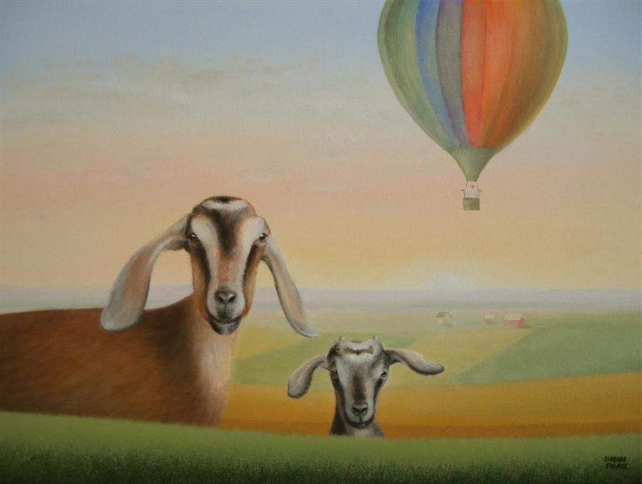Original art for sale at UGallery.com | Away in a Balloon! by SHARON  FRANCE | $1,000 |  | 12' h x 16' w | ..\art\oil-painting-away-in-a-balloon