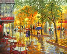 Architecture art,Impressionism art,People art,Representational art,oil painting,Golden Evening (Pearl Street Boulder, Colorado)