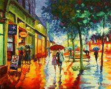 Architecture art,Impressionism art,People art,Representational art,oil painting,Colorful Rain. Boulder, Colorado