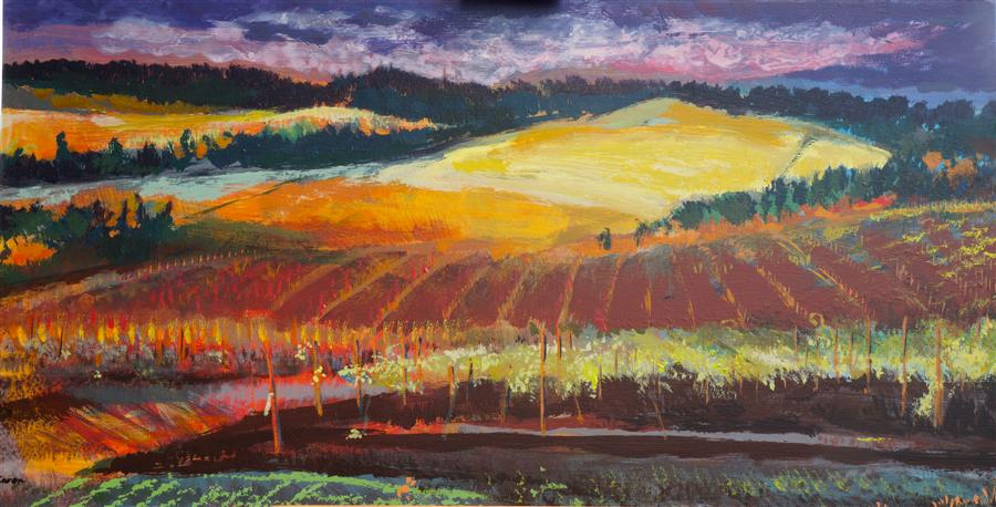 Original art for sale at UGallery.com | Sunset at the Vineyard by Sidonie Caron | $3,000 | acrylic painting | 24' h x 46' w | ..\art\acrylic-painting-Sunset-at-the-Vineyard