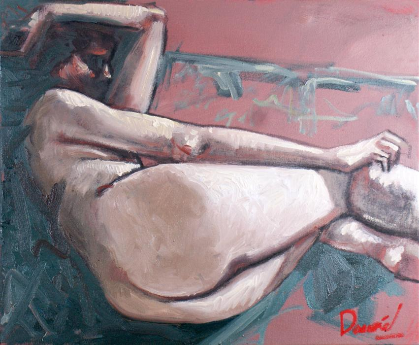 Original art for sale at UGallery.com | Nude Repose by DANIEL HARRIS | $650 | Oil painting | 19' h x 23' w | ..\art\oil-painting-Nude-Repose