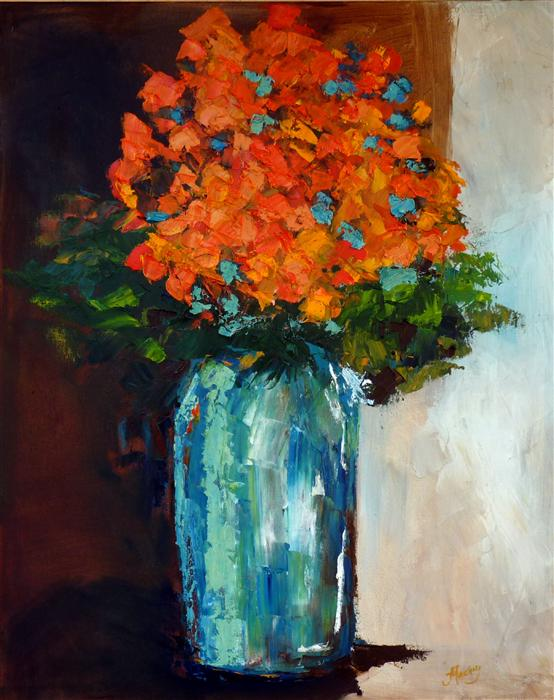 Orange Flowers In Aqua Judy Mackey