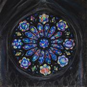 Architecture art,Impressionism art,Representational art,pastel artwork,Rose Window