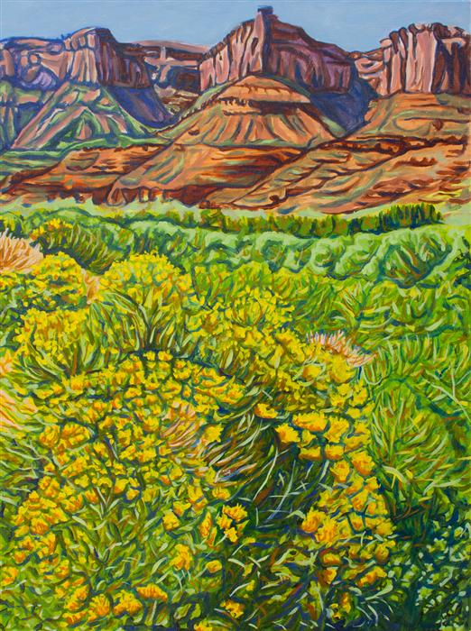Original art for sale at UGallery.com | Rabbitbrush by CRYSTAL DIPIETRO | $1,025 | Oil painting | 24' h x 18' w | ..\art\oil-painting-Rabbitbrush
