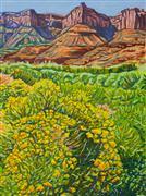 Landscape art,Flora art,Western art,Representational art,oil painting,Rabbitbrush