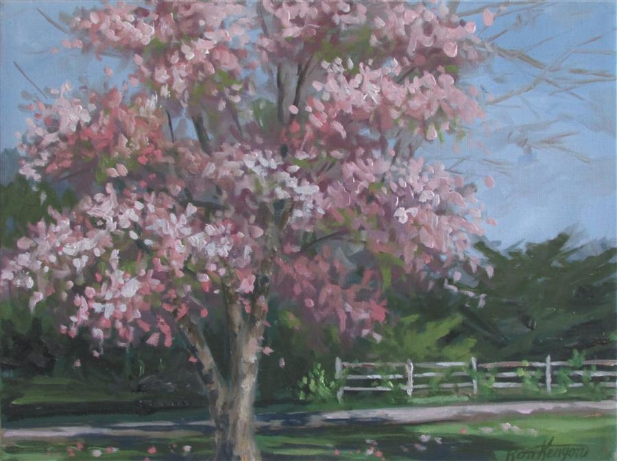 Original art for sale at UGallery.com | Cherry Fence by RON KENYON | $375 |  | 9' h x 12' w | ..\art\oil-painting-Cherry-Fence