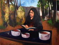 Expressionism art,People art,Representational art,oil painting,Girl Reading