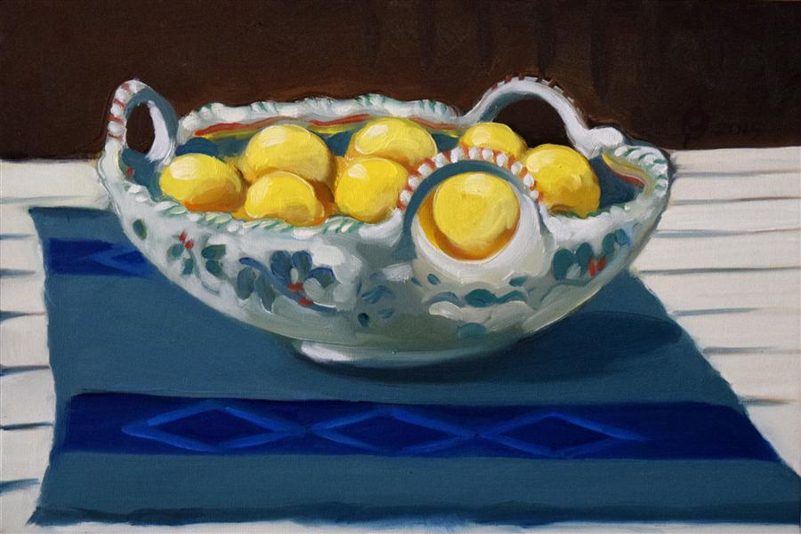 Original art for sale at UGallery.com | Spanish Tray with Lemons by OLEG OSIPOFF | $550 | Oil painting | 12' h x 18' w | ..\art\oil-painting-Spanish-Tray-with-Lemons