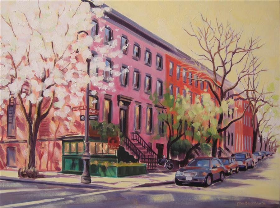 Original art for sale at UGallery.com | Spring Ye Waverly Inn by ELLEN BRADSHAW | $2,875 |  | 18' h x 24' w | ..\art\oil-painting-Spring-Ye-Waverly-Inn