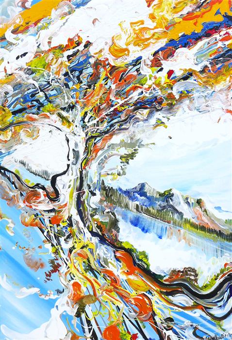 Original art for sale at UGallery.com | Tree Alive by PIERO MANRIQUE | $1,050 | Acrylic painting | 36' h x 24' w | ..\art\acrylic-painting-Tree-Alive