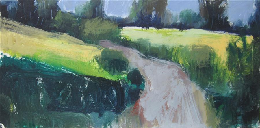 Original art for sale at UGallery.com | Road in England by JANET DYER | $1,075 |  | 12' h x 24' w | ..\art\acrylic-painting-Road-in-England