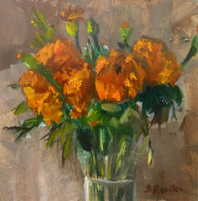 Original art for sale at UGallery.com | Marigolds by GARY BRUTON | $275 |  | 6' h x 6' w | ..\art\oil-painting-Marigolds