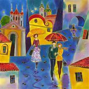 Architecture art,Fantasy art,Travel art,Representational art,mixed media artwork,Rainy Day Prague