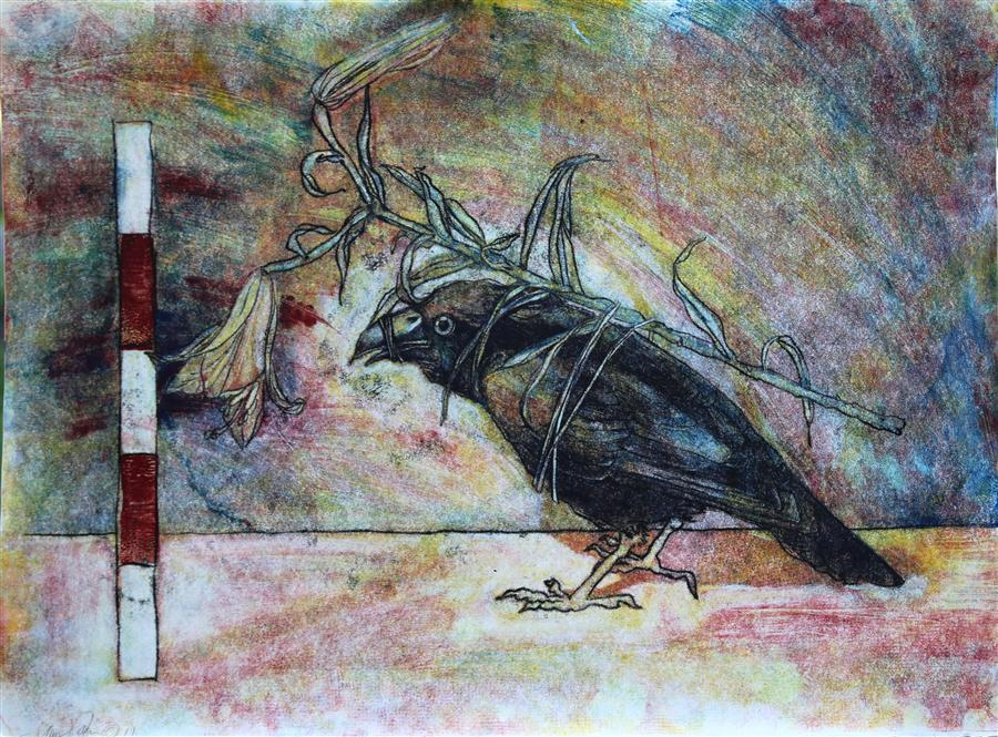 Original art for sale at UGallery.com | Masquerade (Crow with Flower) by JAMES REES | $1,125 | Printmaking | 22' h x 29.7' w | ..\art\printmaking-Masquerade-Crow-with-Flower
