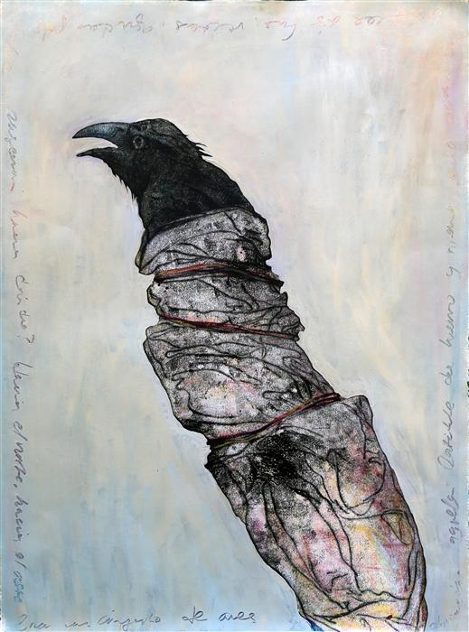 Original art for sale at UGallery.com | Wrapped Raven by JAMES REES | $1,125 | Printmaking | 30' h x 22.2' w | ..\art\printmaking-Wrapped-Raven