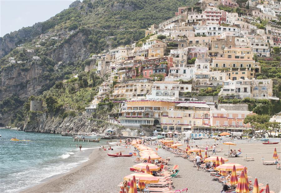 Original art for sale at UGallery.com | Beach Days in Positano by Rebecca Plotnick | $410 | photography | 36' h x 24' w | ..\art\photography-Beach-Days-in-Positano