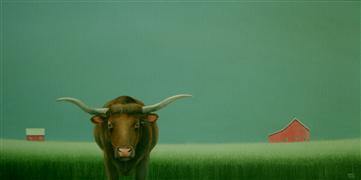 Animals art,Landscape art,Surrealism art,Representational art,acrylic painting,By the Quiet Field