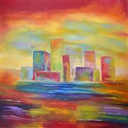 Architecture art,Expressionism art,Representational art,oil painting,City Ablaze