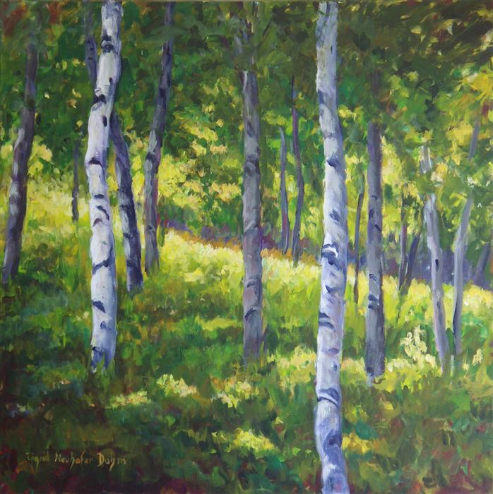 Original art for sale at UGallery.com | Birch Trees in the Green by INGRID DOHM | $3,050 |  | 36' h x 36' w | ..\art\acrylic-painting-Birch-Trees-in-the-Green