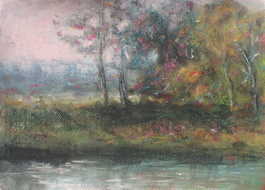 Original art for sale at UGallery.com | Stand of Trees by SARAH BETH GONCAROVA | $400 |  | 11' h x 15' w | ..\art\pastel-artwork-Stand-of-Trees