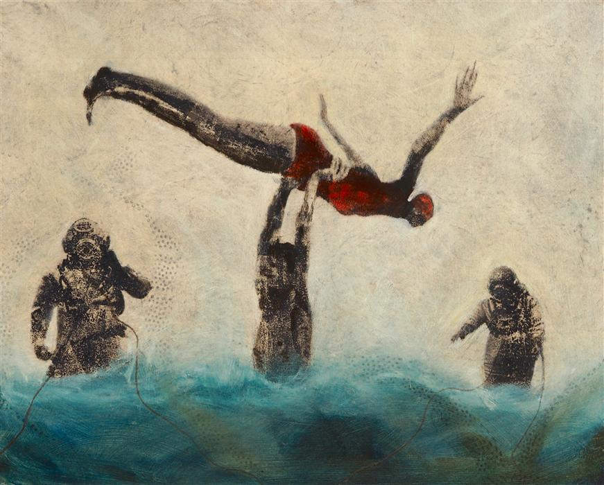 Original art for sale at UGallery.com | Whirl Divers by LESLIE MORGAN | $775 | Mixed media artwork | 16' h x 20' w | ..\art\mixed-media-artwork-Whirl-Divers