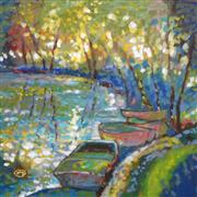 Impressionism art,Landscape art,Seascape art,Representational art,acrylic painting,Summer Boats