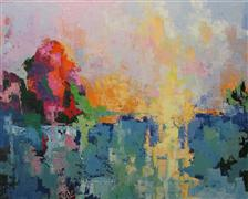 Expressionism art,Landscape art,Nature art,Non-representational art,oil painting,Islands in the Stream: Late Afternoon